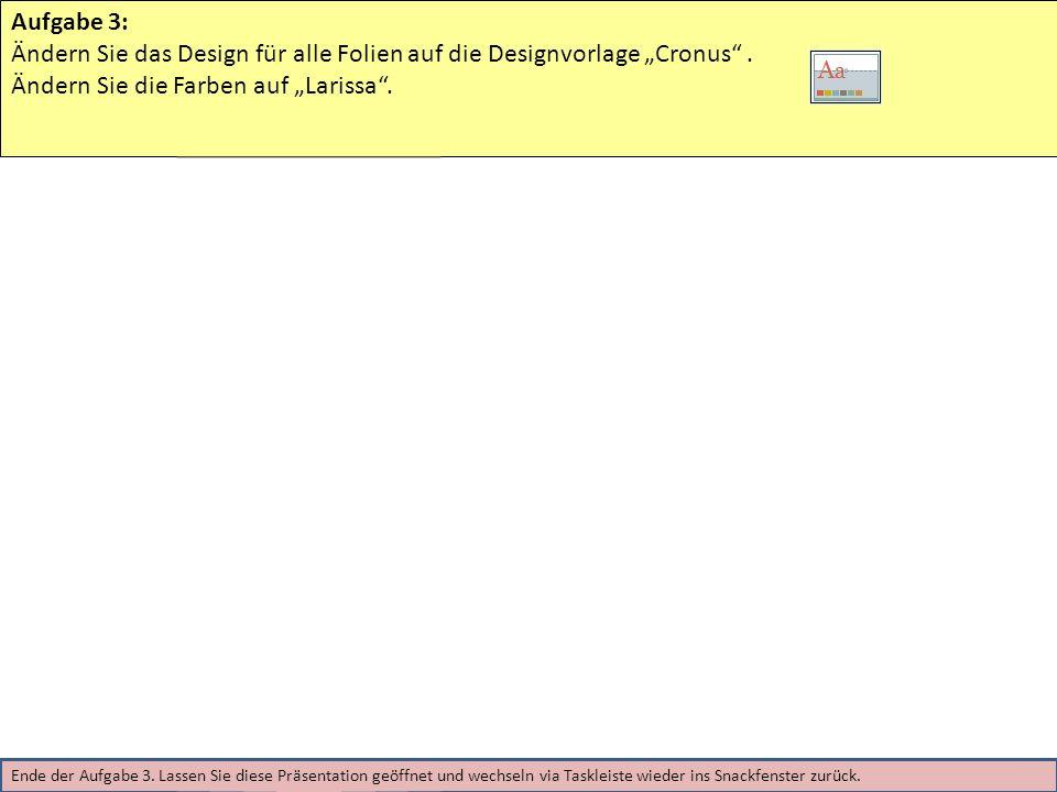 """Ändern Sie das Design für alle Folien auf die Designvorlage """"Cronus ."""