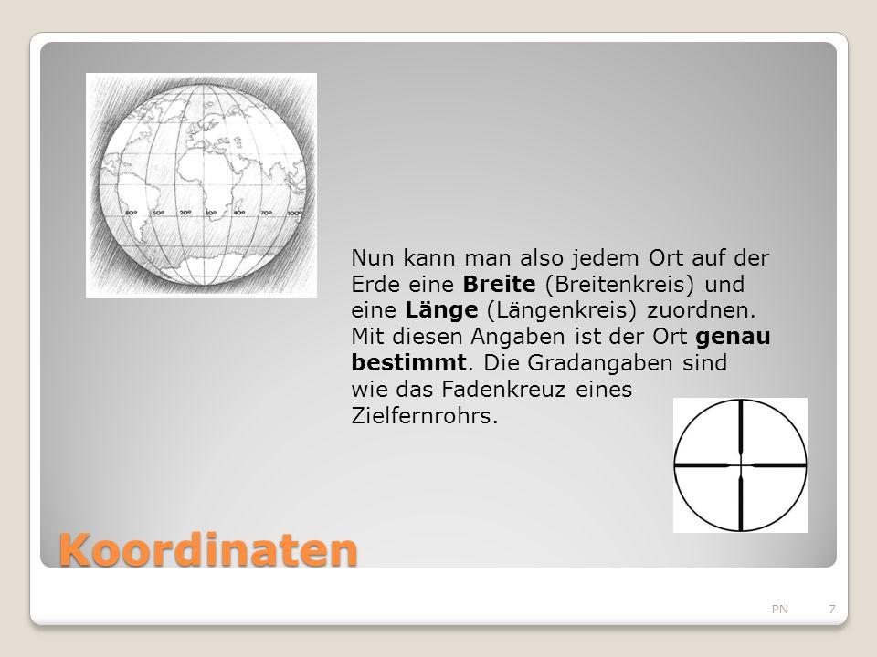 Nun kann man also jedem Ort auf der Erde eine Breite (Breitenkreis) und eine Länge (Längenkreis) zuordnen. Mit diesen Angaben ist der Ort genau bestimmt. Die Gradangaben sind wie das Fadenkreuz eines Zielfernrohrs.