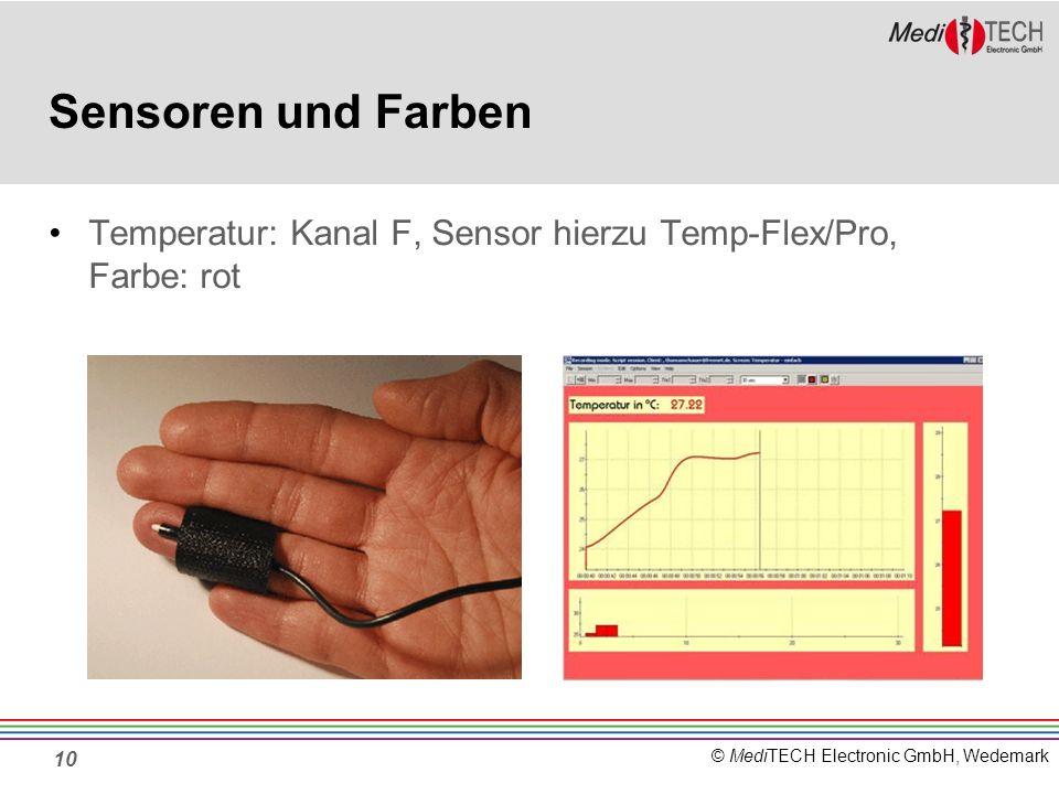 Sensoren und Farben Temperatur: Kanal F, Sensor hierzu Temp-Flex/Pro, Farbe: rot