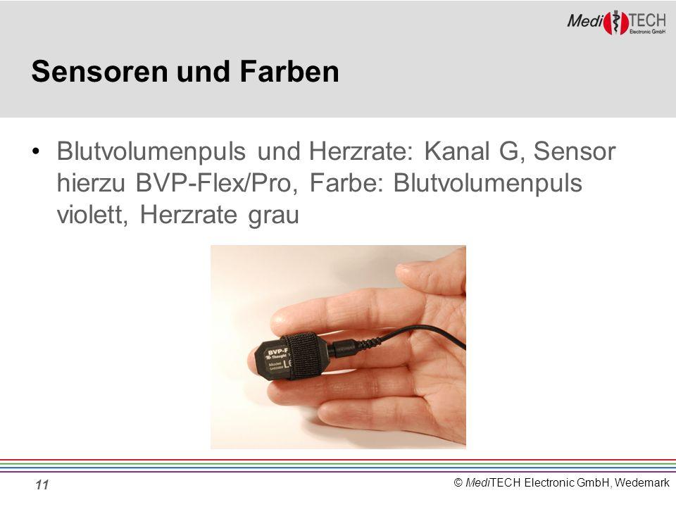 Sensoren und Farben Blutvolumenpuls und Herzrate: Kanal G, Sensor hierzu BVP-Flex/Pro, Farbe: Blutvolumenpuls violett, Herzrate grau.