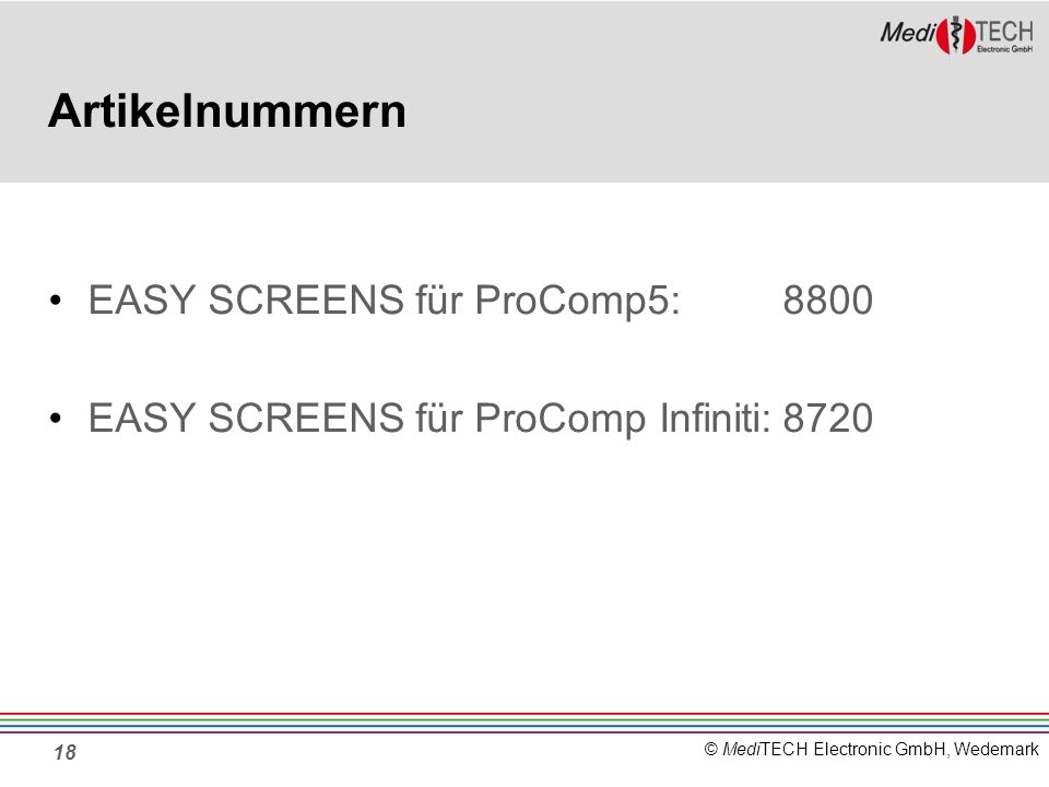 Artikelnummern EASY SCREENS für ProComp5: 8800