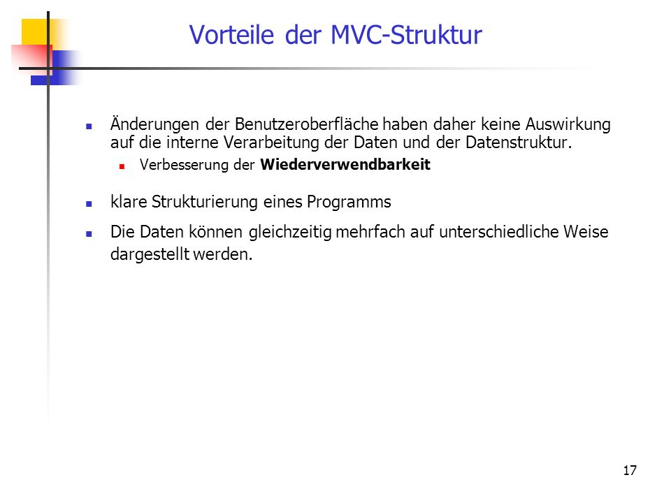 Vorteile der MVC-Struktur