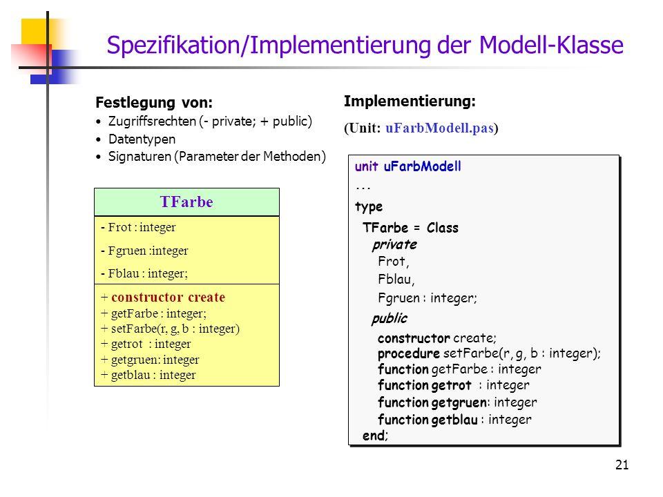 Spezifikation/Implementierung der Modell-Klasse