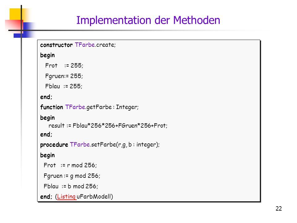 Implementation der Methoden