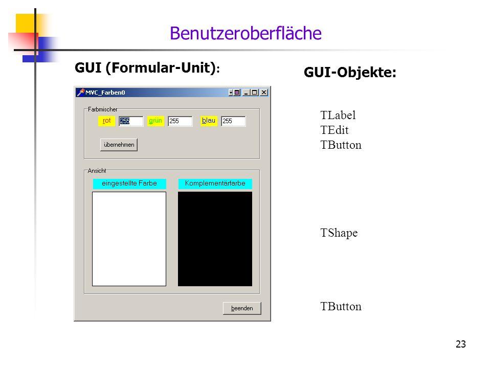 Benutzeroberfläche GUI (Formular-Unit): GUI-Objekte: TLabel TEdit