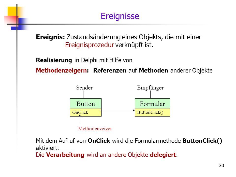 Ereignisse Ereignis: Zustandsänderung eines Objekts, die mit einer Ereignisprozedur verknüpft ist.
