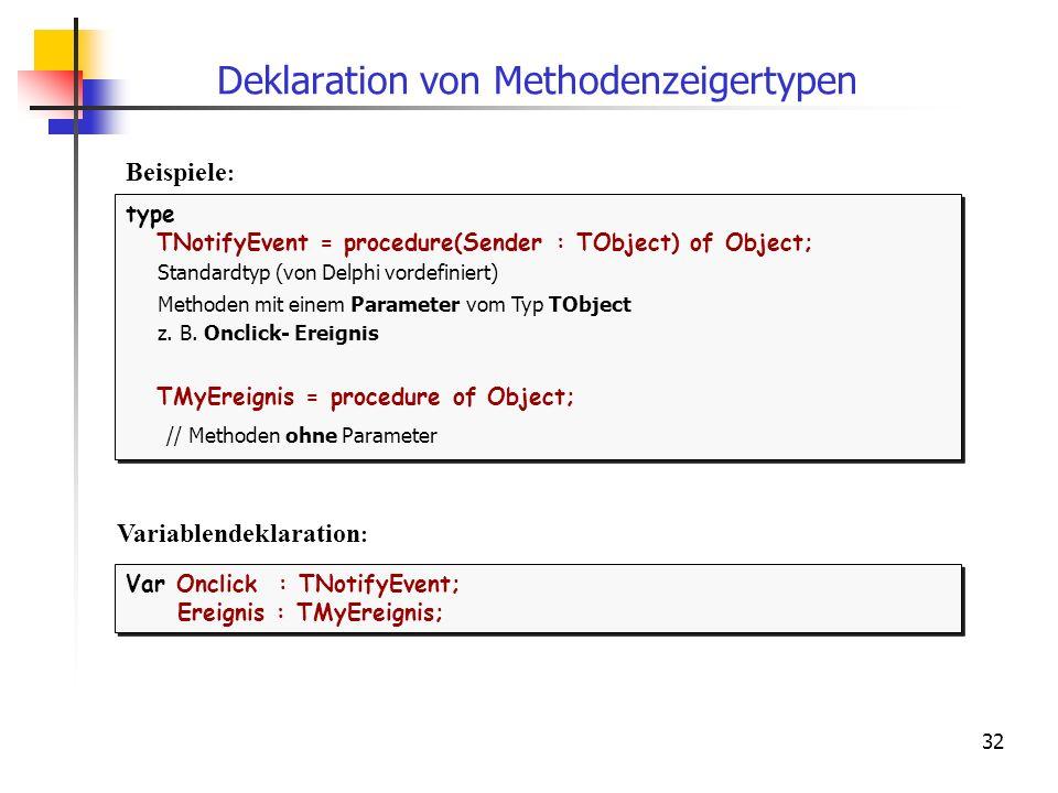 Deklaration von Methodenzeigertypen