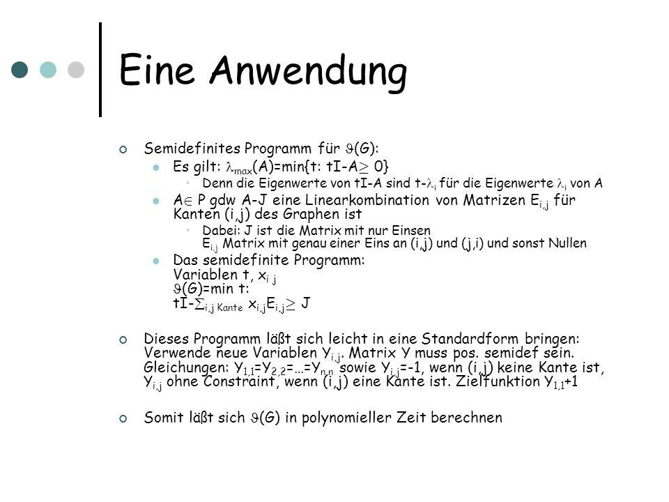 Eine Anwendung Semidefinites Programm für (G):