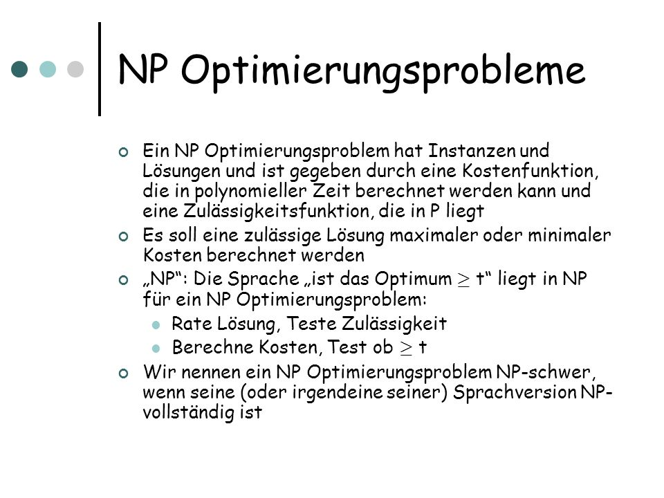 NP Optimierungsprobleme