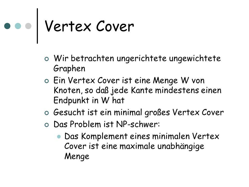 Vertex Cover Wir betrachten ungerichtete ungewichtete Graphen