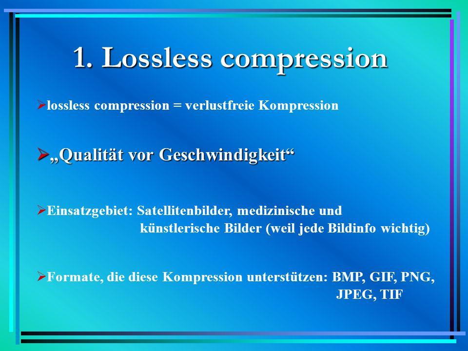 """1. Lossless compression """"Qualität vor Geschwindigkeit"""