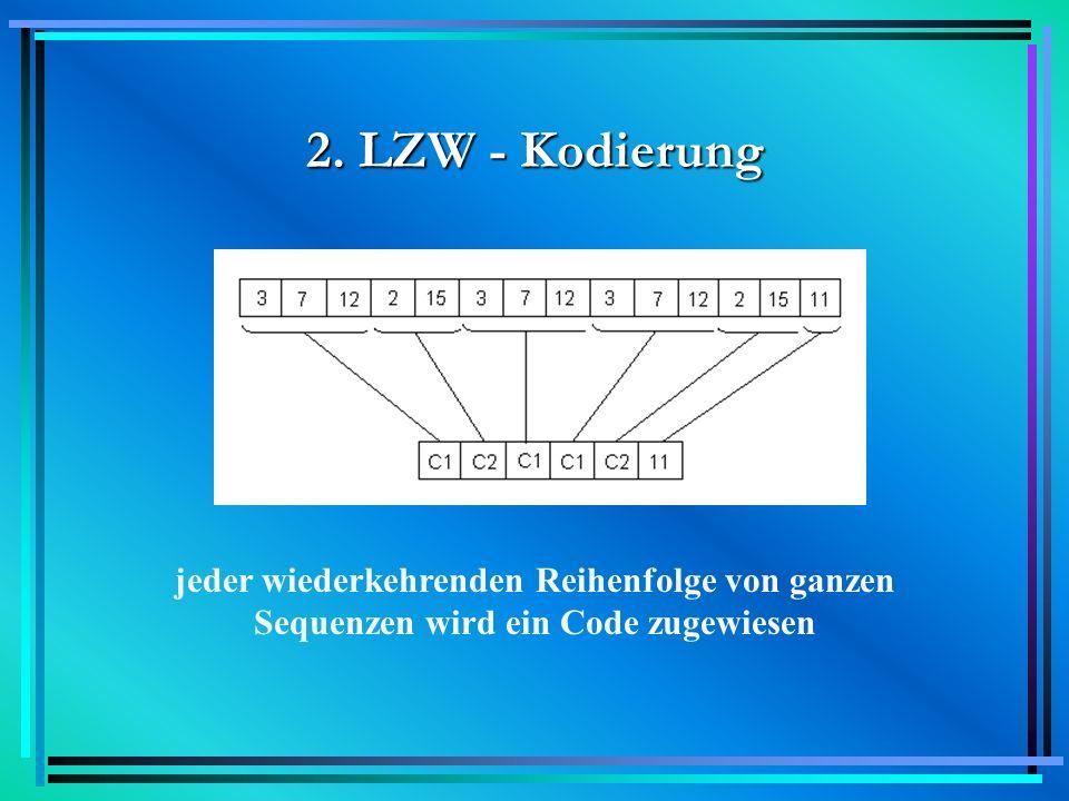 2. LZW - Kodierung jeder wiederkehrenden Reihenfolge von ganzen Sequenzen wird ein Code zugewiesen