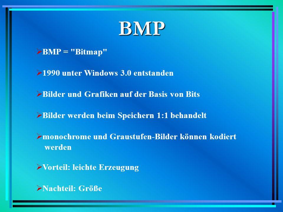 BMP BMP = Bitmap 1990 unter Windows 3.0 entstanden