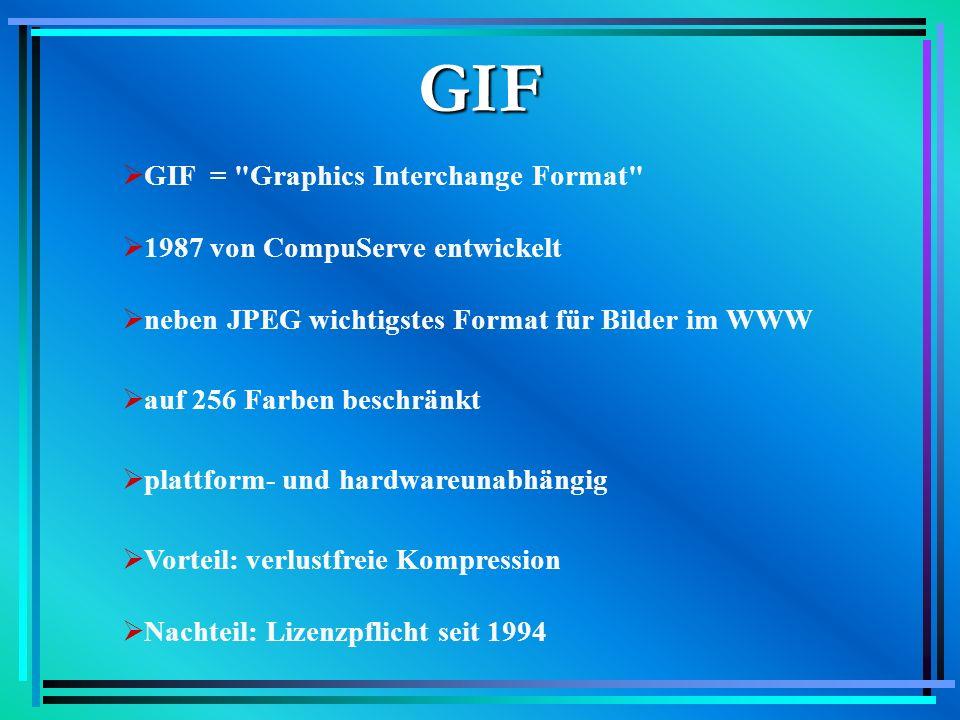 GIF GIF = Graphics Interchange Format 1987 von CompuServe entwickelt