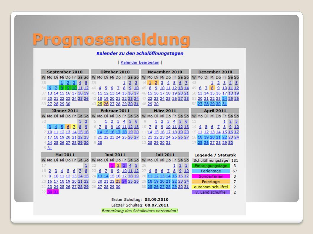 Prognosemeldung Nach Anleitung im RS vorgehen Kalender bearbeiten