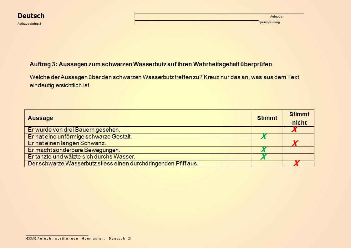 Deutsch Aufgaben Sprachprüfung. Aufbautraining 2. Auftrag 3: Aussagen zum schwarzen Wasserbutz auf ihren Wahrheitsgehalt überprüfen.
