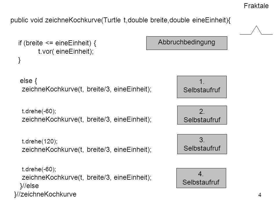 public void zeichneKochkurve(Turtle t,double breite,double eineEinheit){