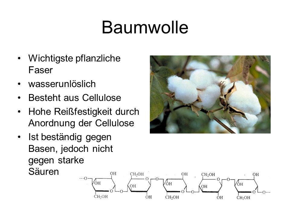 Baumwolle Wichtigste pflanzliche Faser wasserunlöslich