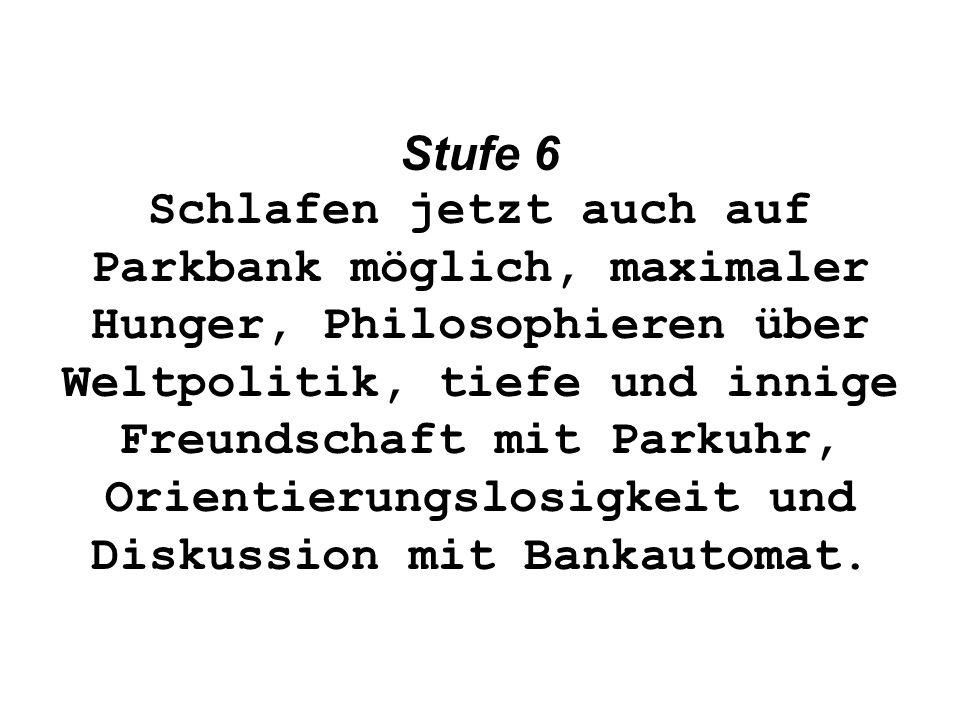 Stufe 6 Schlafen jetzt auch auf Parkbank möglich, maximaler Hunger, Philosophieren über Weltpolitik, tiefe und innige Freundschaft mit Parkuhr, Orientierungslosigkeit und Diskussion mit Bankautomat.
