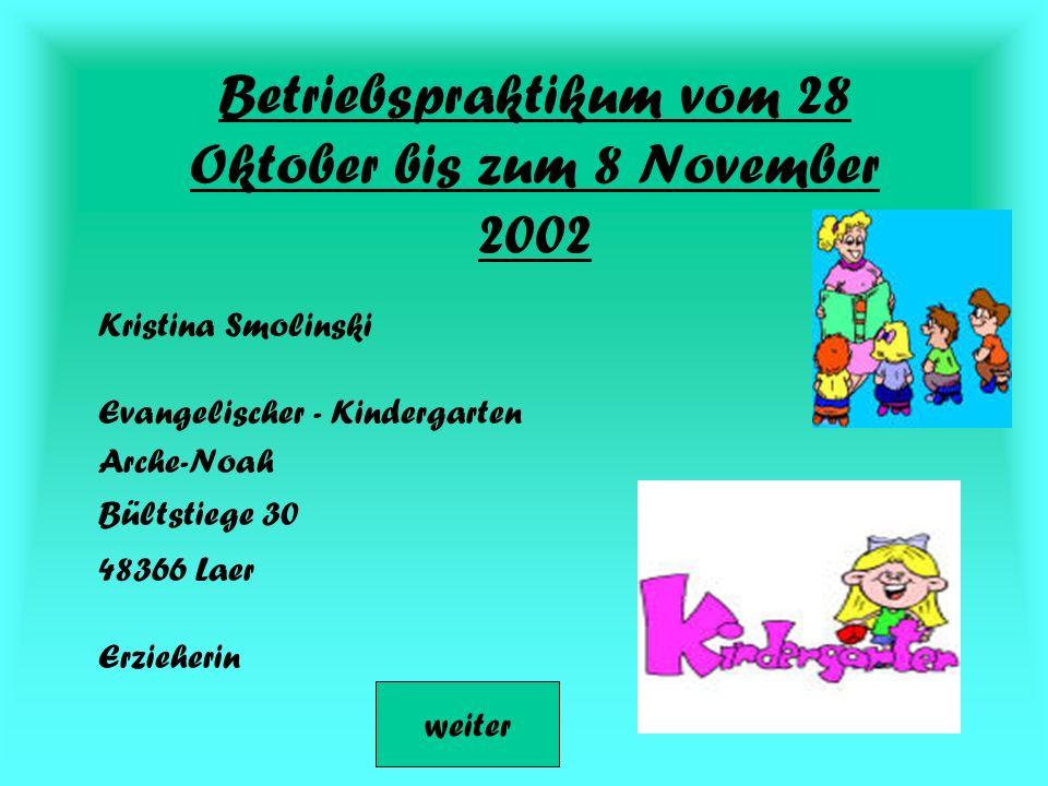 Betriebspraktikum vom 28 Oktober bis zum 8 November 2002