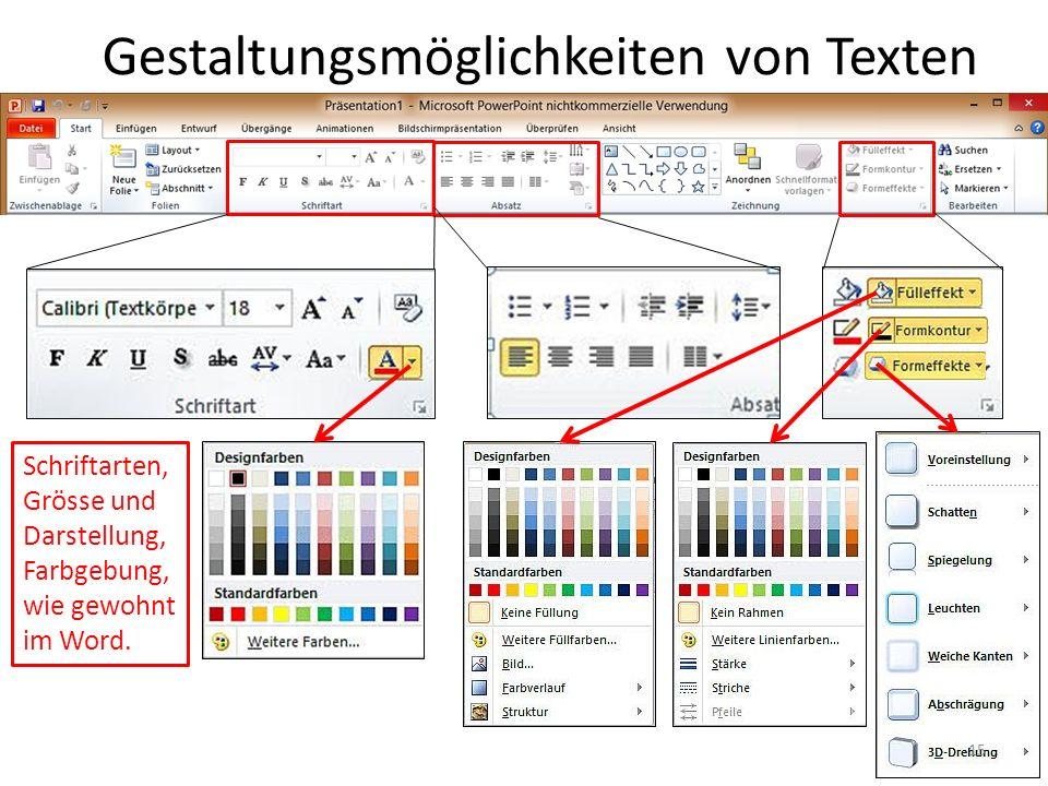 Gestaltungsmöglichkeiten von Texten