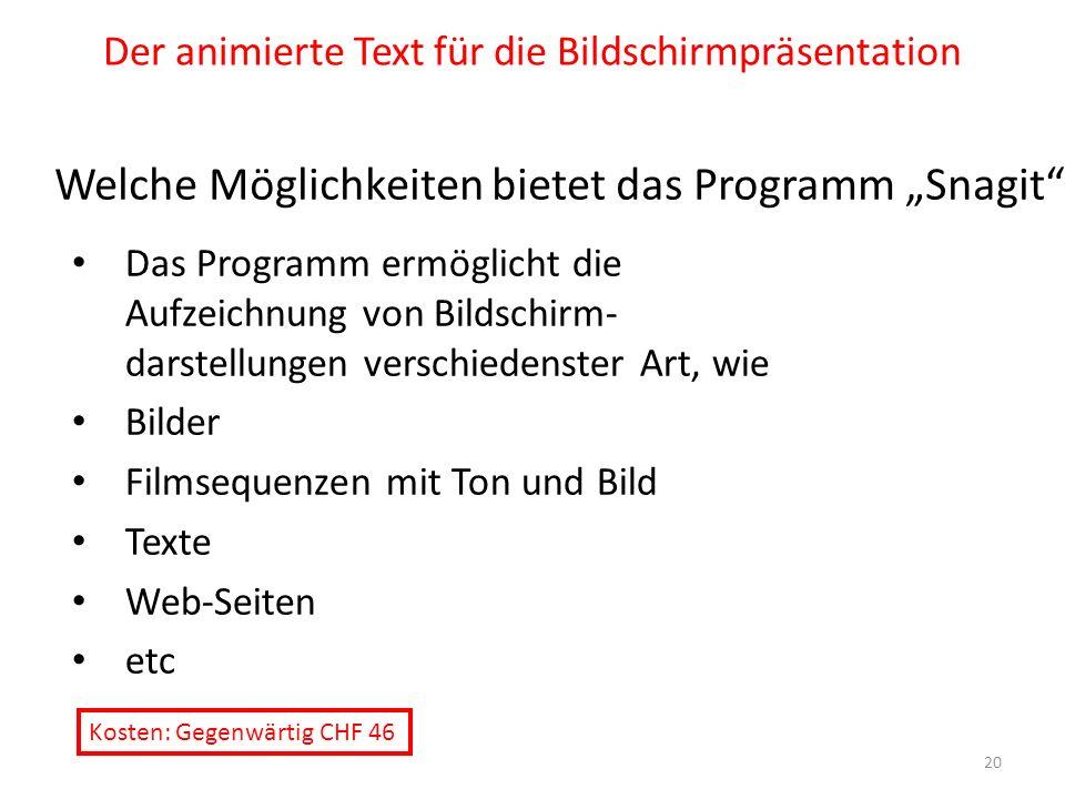 Der animierte Text für die Bildschirmpräsentation