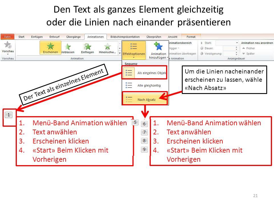 Den Text als ganzes Element gleichzeitig oder die Linien nach einander präsentieren