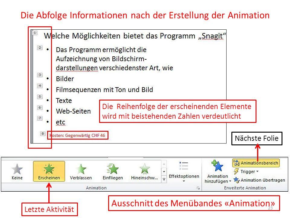 Die Abfolge Informationen nach der Erstellung der Animation