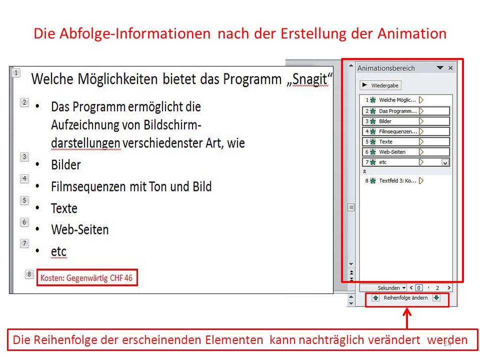 Die Abfolge-Informationen nach der Erstellung der Animation