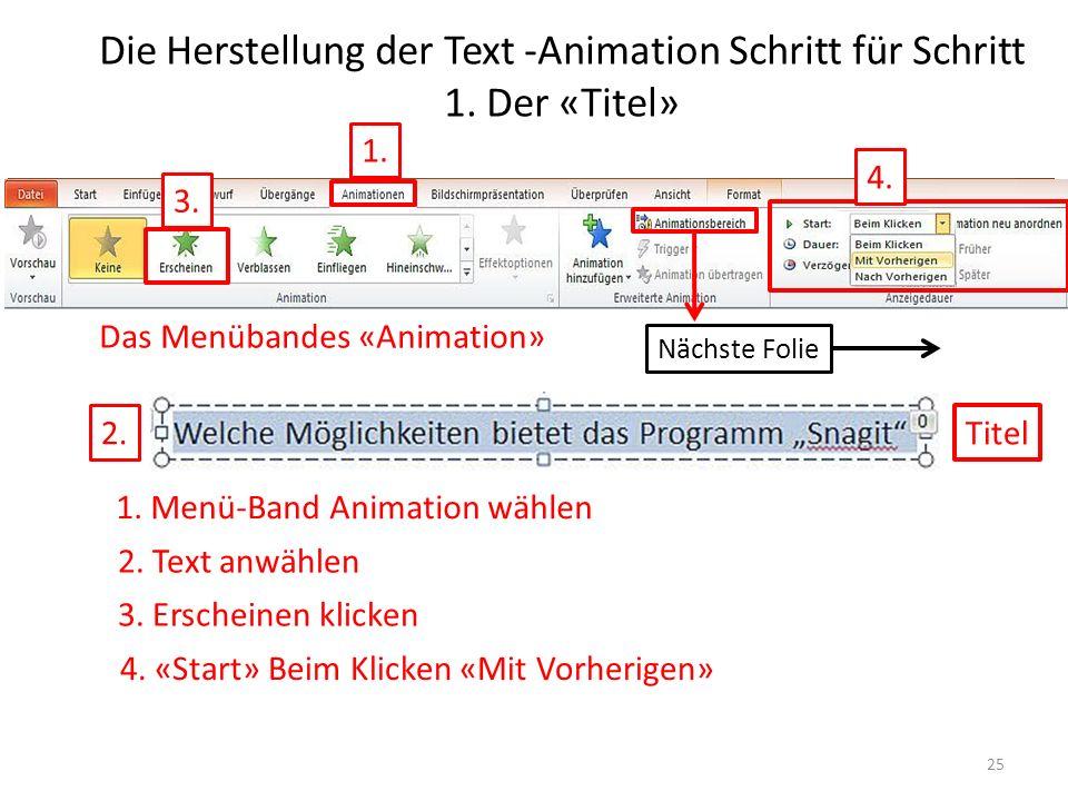 Die Herstellung der Text -Animation Schritt für Schritt 1. Der «Titel»