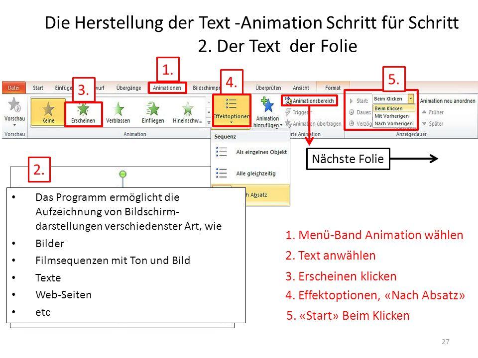 Die Herstellung der Text -Animation Schritt für Schritt 2