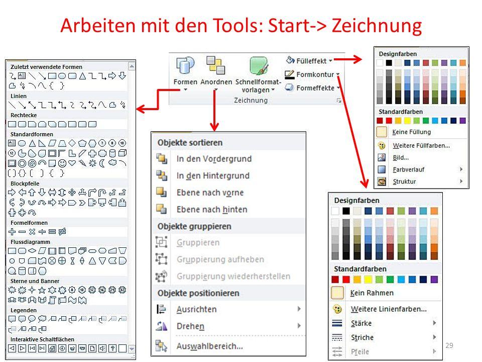 Arbeiten mit den Tools: Start-> Zeichnung