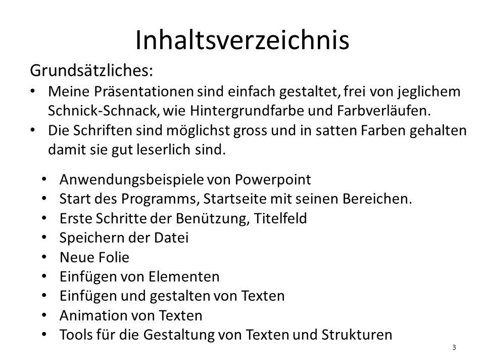 Inhaltsverzeichnis Grundsätzliches: