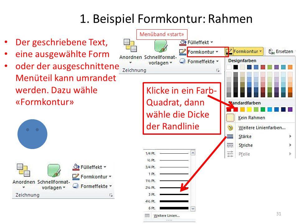 1. Beispiel Formkontur: Rahmen