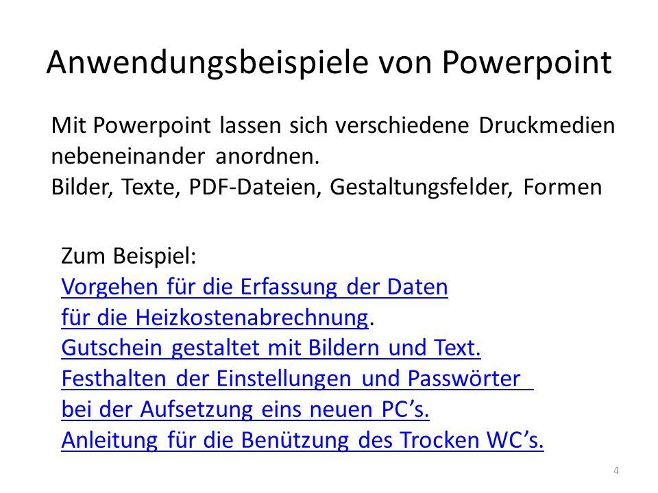 Anwendungsbeispiele von Powerpoint