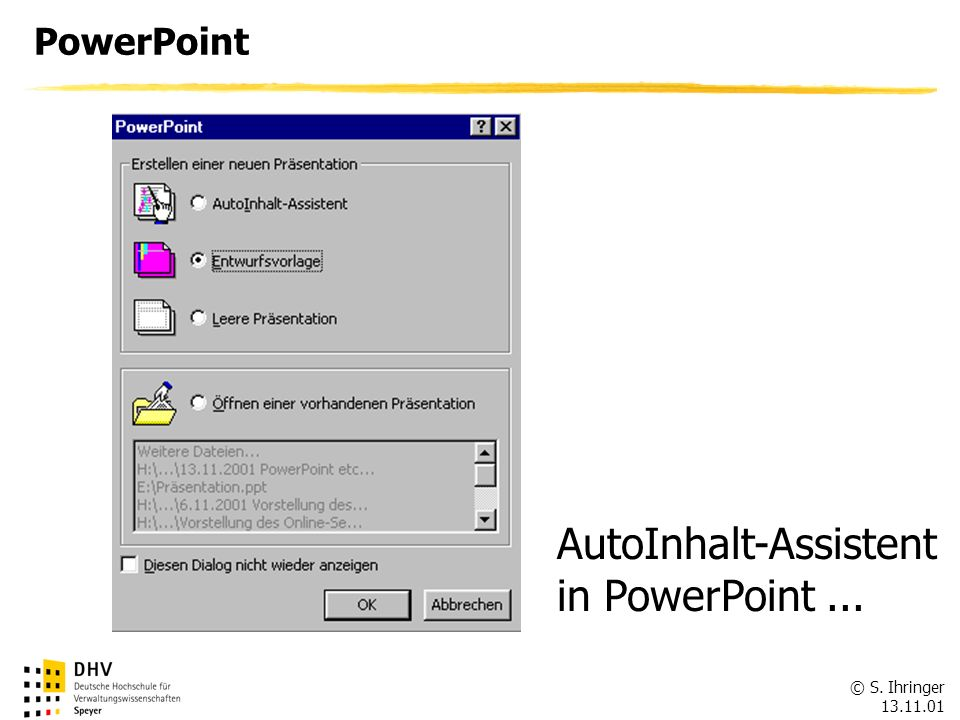 AutoInhalt-Assistent in PowerPoint ...