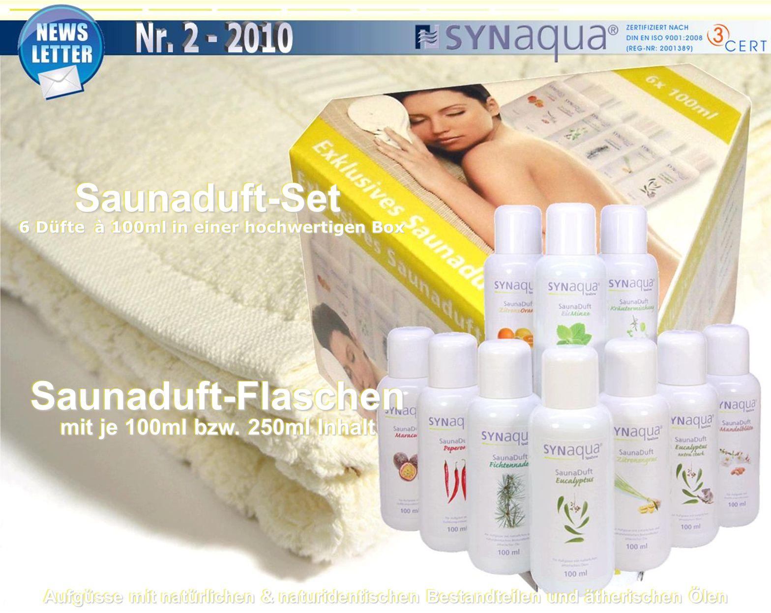 Saunaduft-Flaschen mit je 100ml bzw. 250ml Inhalt