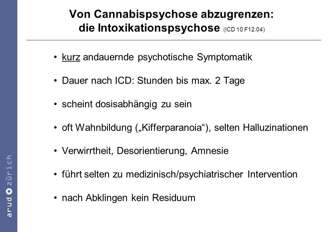 Von Cannabispsychose abzugrenzen: die Intoxikationspsychose (ICD 10 F12.04)