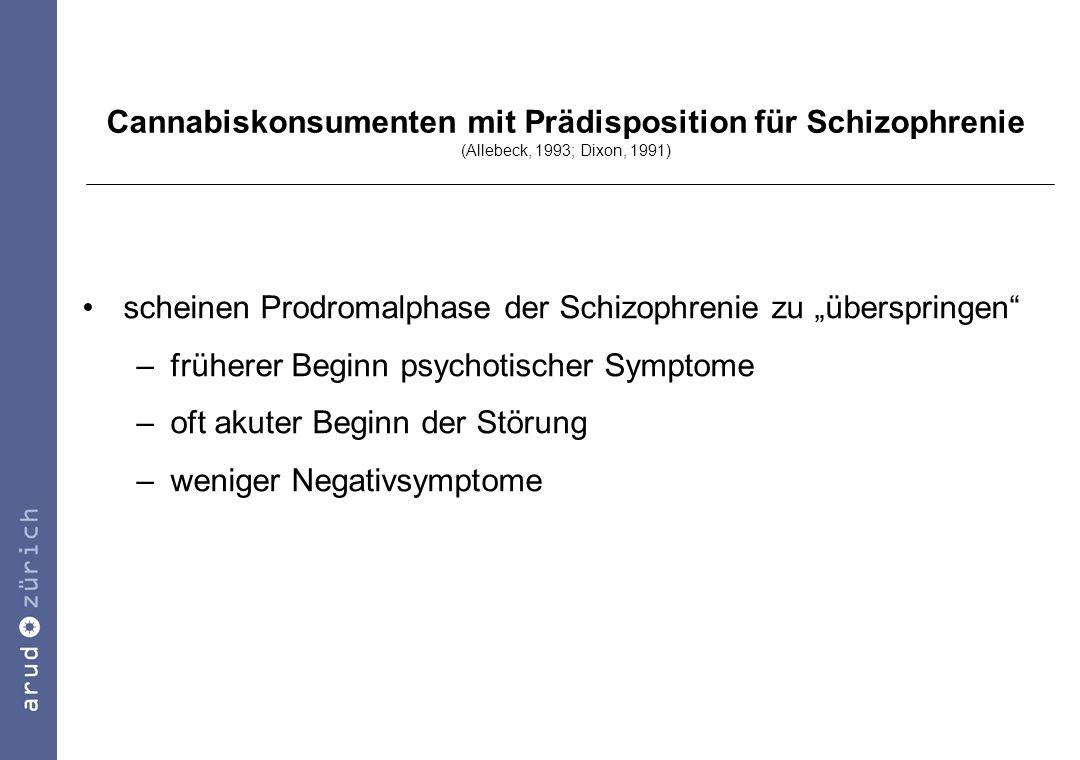 Cannabiskonsumenten mit Prädisposition für Schizophrenie (Allebeck, 1993; Dixon, 1991)