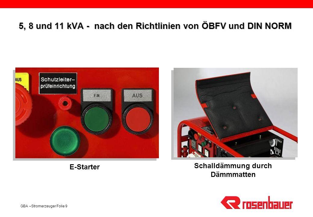 5, 8 und 11 kVA - nach den Richtlinien von ÖBFV und DIN NORM
