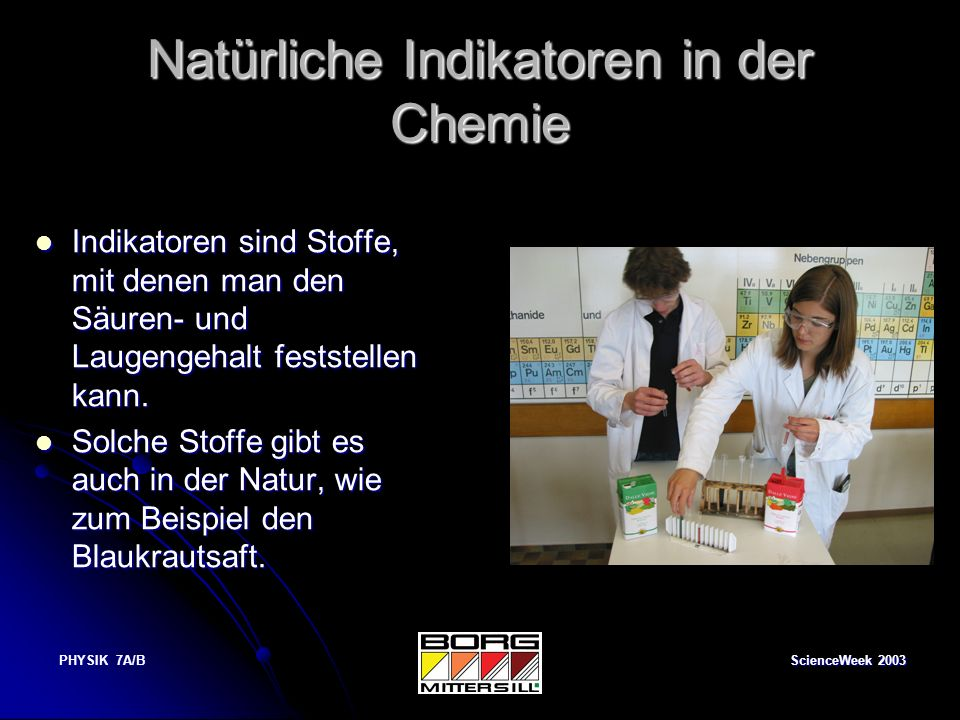 Natürliche Indikatoren in der Chemie