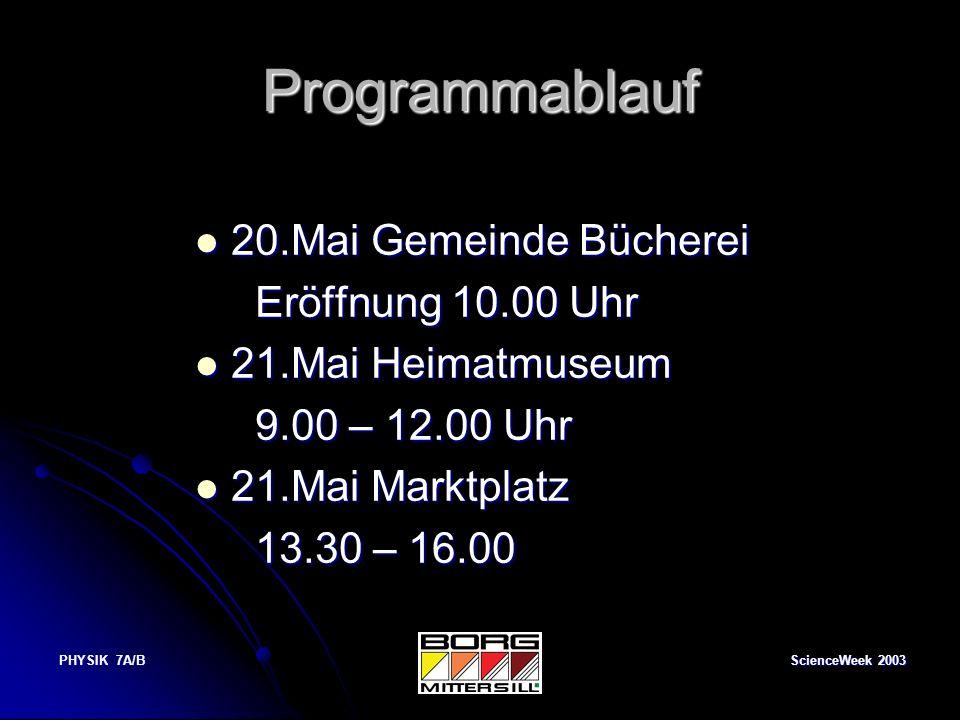 Programmablauf 20.Mai Gemeinde Bücherei Eröffnung 10.00 Uhr