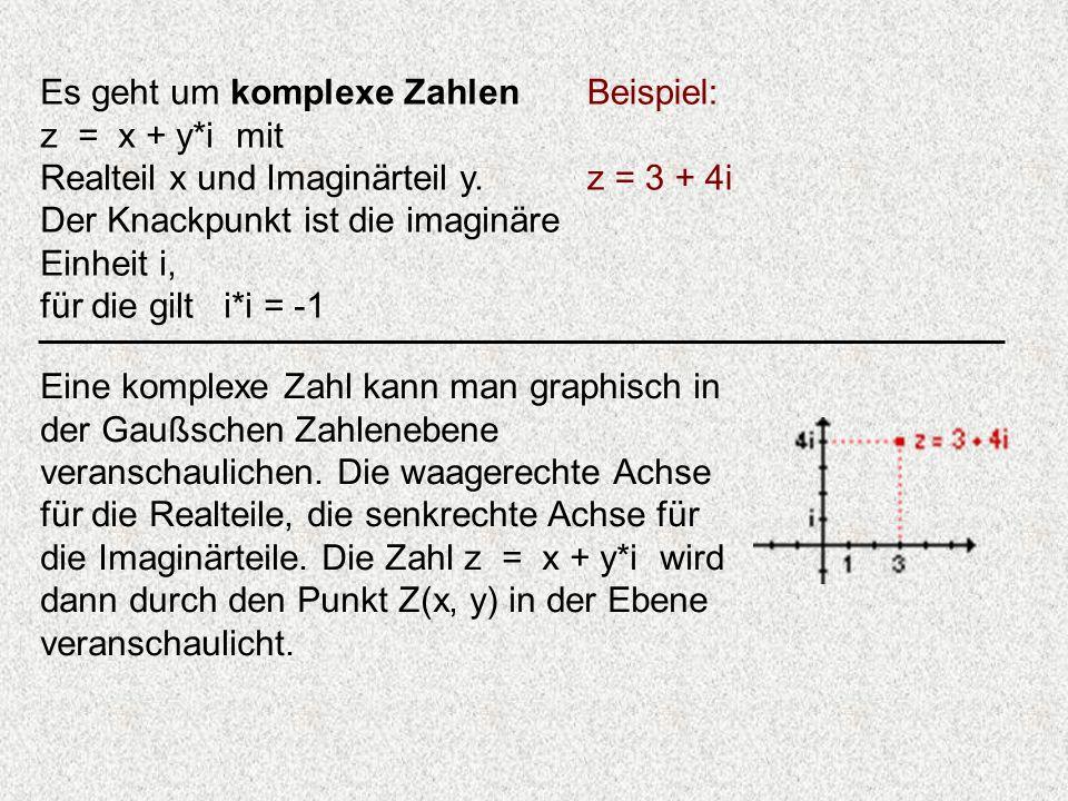 Es geht um komplexe Zahlen z = x + y