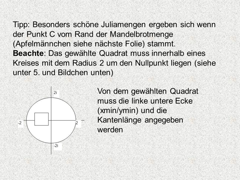Tipp: Besonders schöne Juliamengen ergeben sich wenn der Punkt C vom Rand der Mandelbrotmenge (Apfelmännchen siehe nächste Folie) stammt.