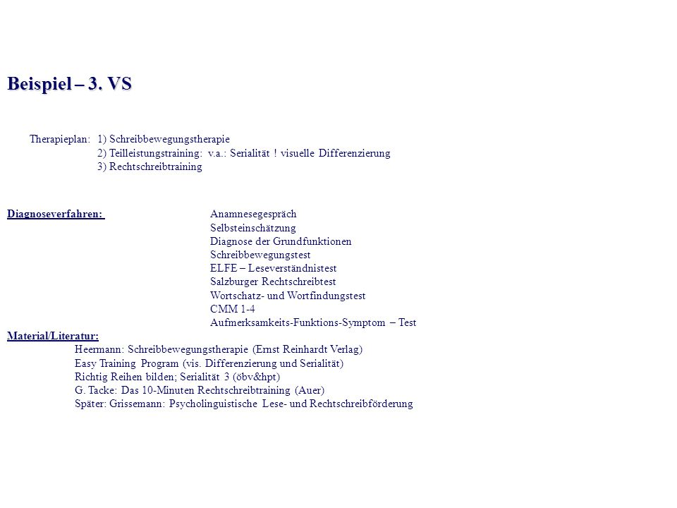 Beispiel – 3. VS Therapieplan: 1) Schreibbewegungstherapie