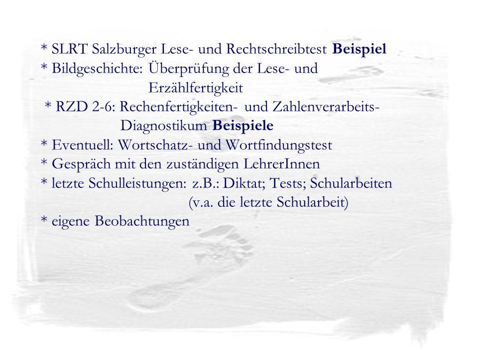 SLRT Salzburger Lese- und Rechtschreibtest Beispiel