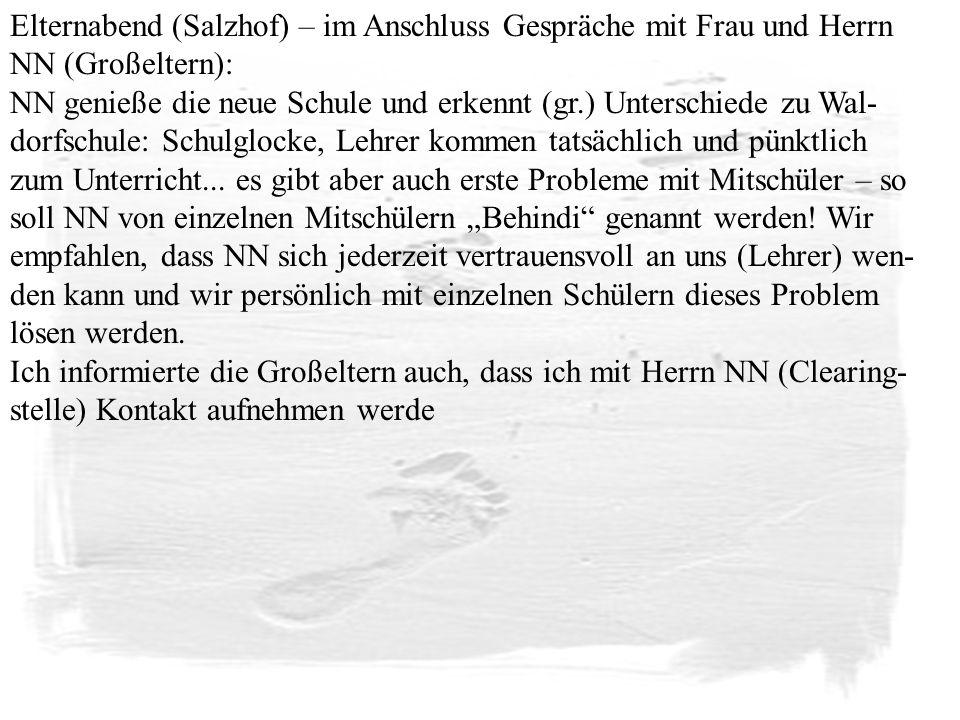 Elternabend (Salzhof) – im Anschluss Gespräche mit Frau und Herrn NN (Großeltern):