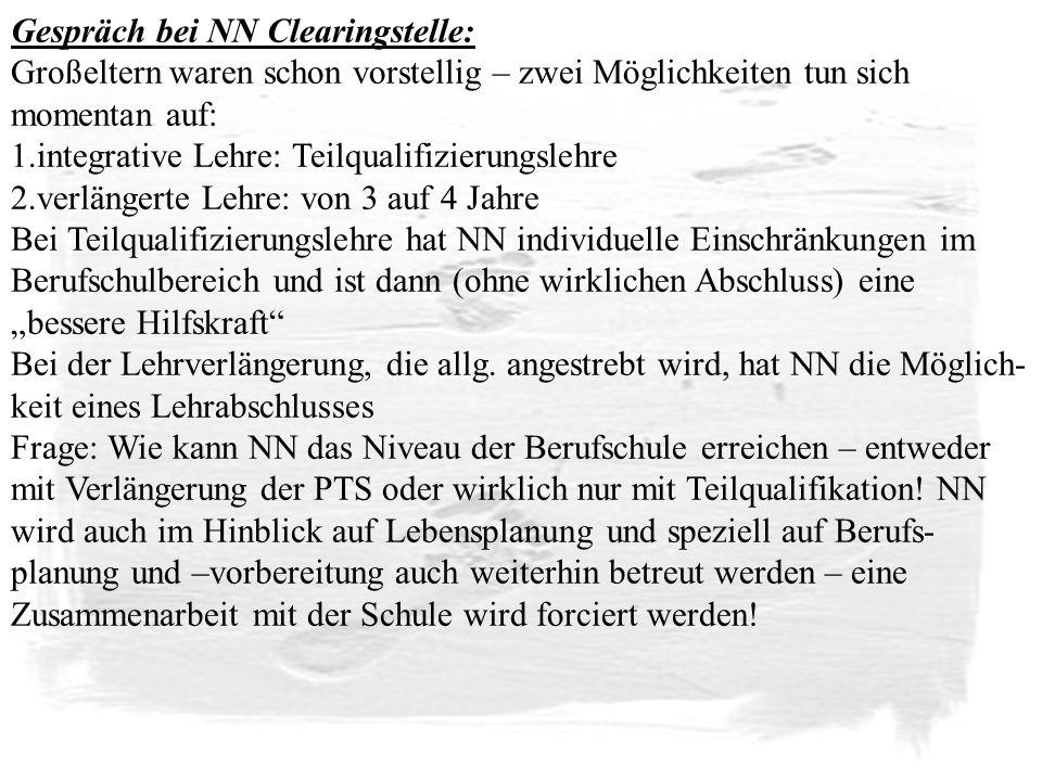 Gespräch bei NN Clearingstelle: