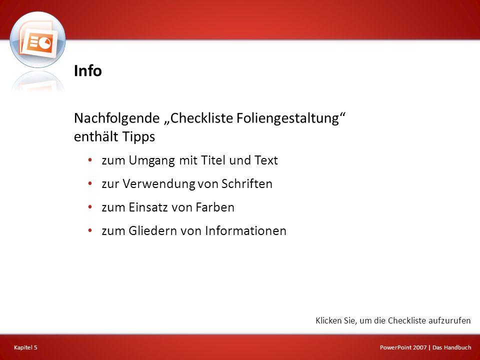 """Info Nachfolgende """"Checkliste Foliengestaltung enthält Tipps"""