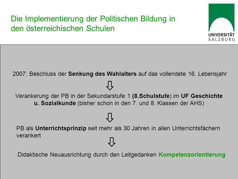 Die Implementierung der Politischen Bildung in den österreichischen Schulen